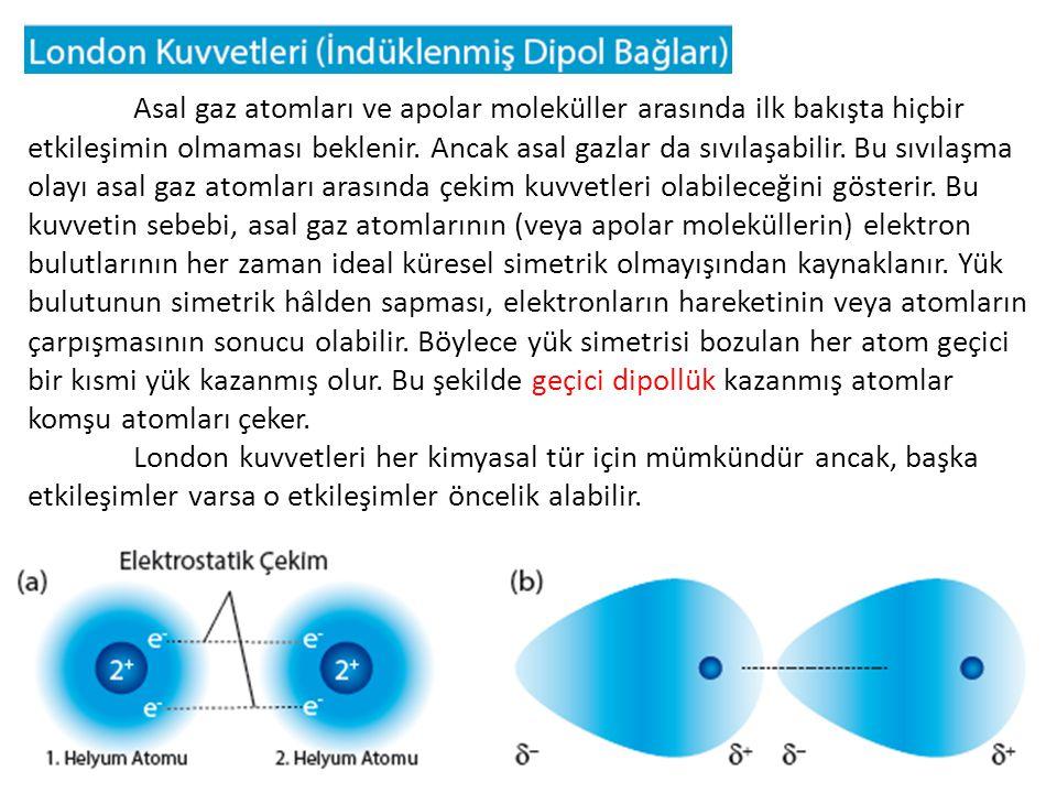 Apolar moleküllerin ve soy gazların elektron sayısı (atom numarası) arttıkça erime ve kaynama noktalarının da arttığı görülür.