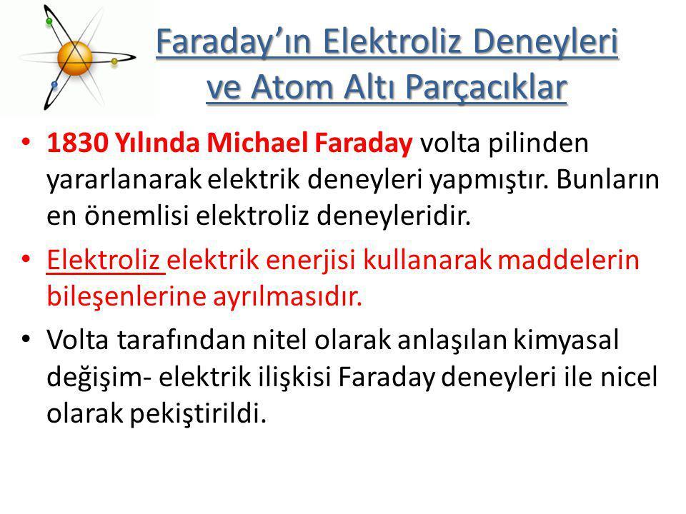1830 Yılında Michael Faraday volta pilinden yararlanarak elektrik deneyleri yapmıştır. Bunların en önemlisi elektroliz deneyleridir. Elektroliz elektr