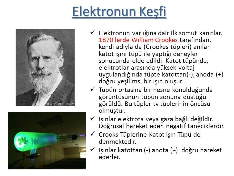 Elektronun Keşfi Elektronun varlığına dair ilk somut kanıtlar, 1870 lerde William Crookes tarafından, kendi adıyla da (Crookes tüpleri) anılan katot ı