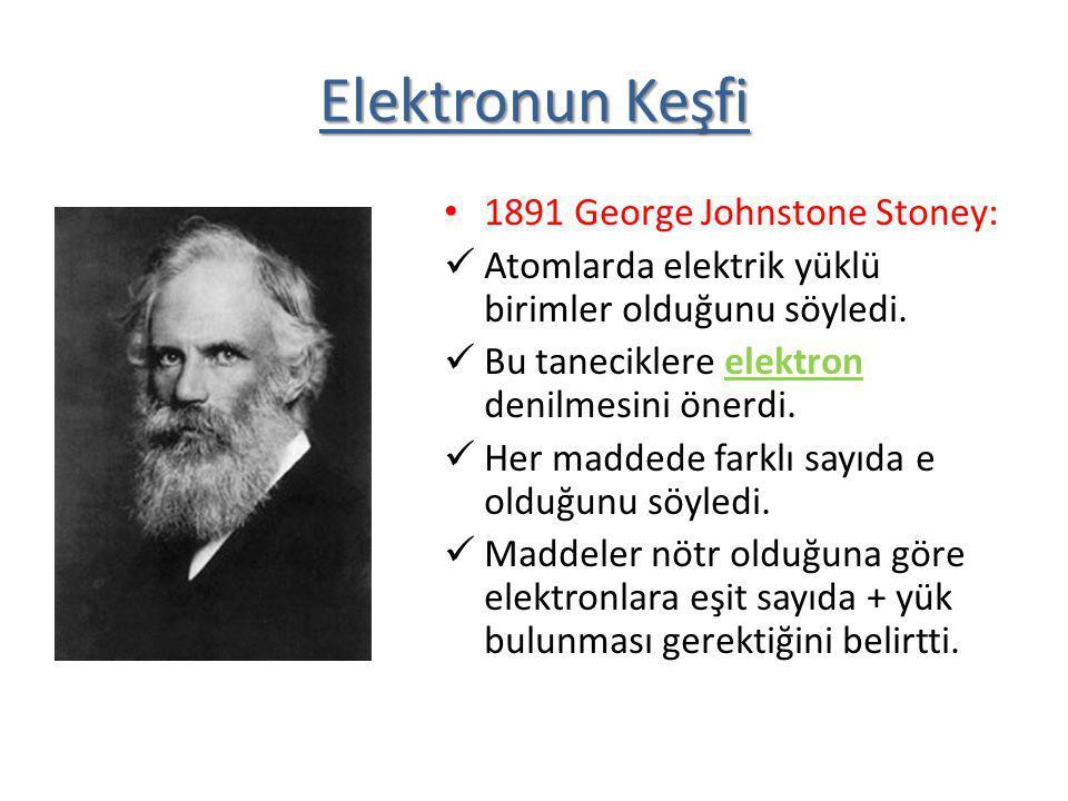 1891 George Johnstone Stoney: Atomlarda elektrik yüklü birimler olduğunu söyledi. Bu taneciklere elektron denilmesini önerdi. Her maddede farklı sayıd