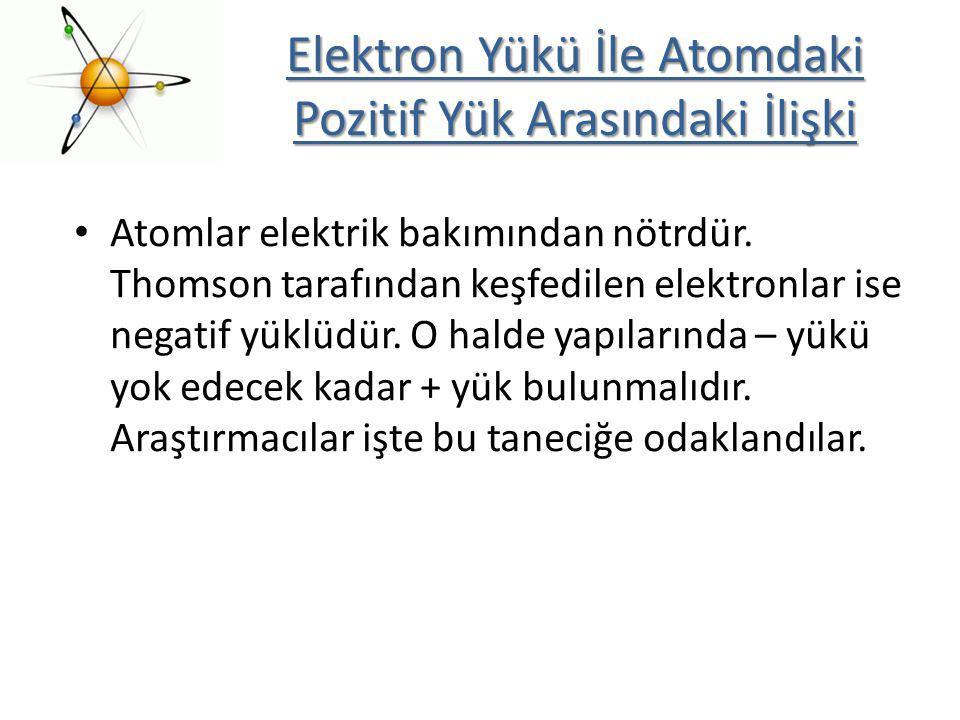 Elektron Yükü İle Atomdaki Pozitif Yük Arasındaki İlişki Atomlar elektrik bakımından nötrdür. Thomson tarafından keşfedilen elektronlar ise negatif yü