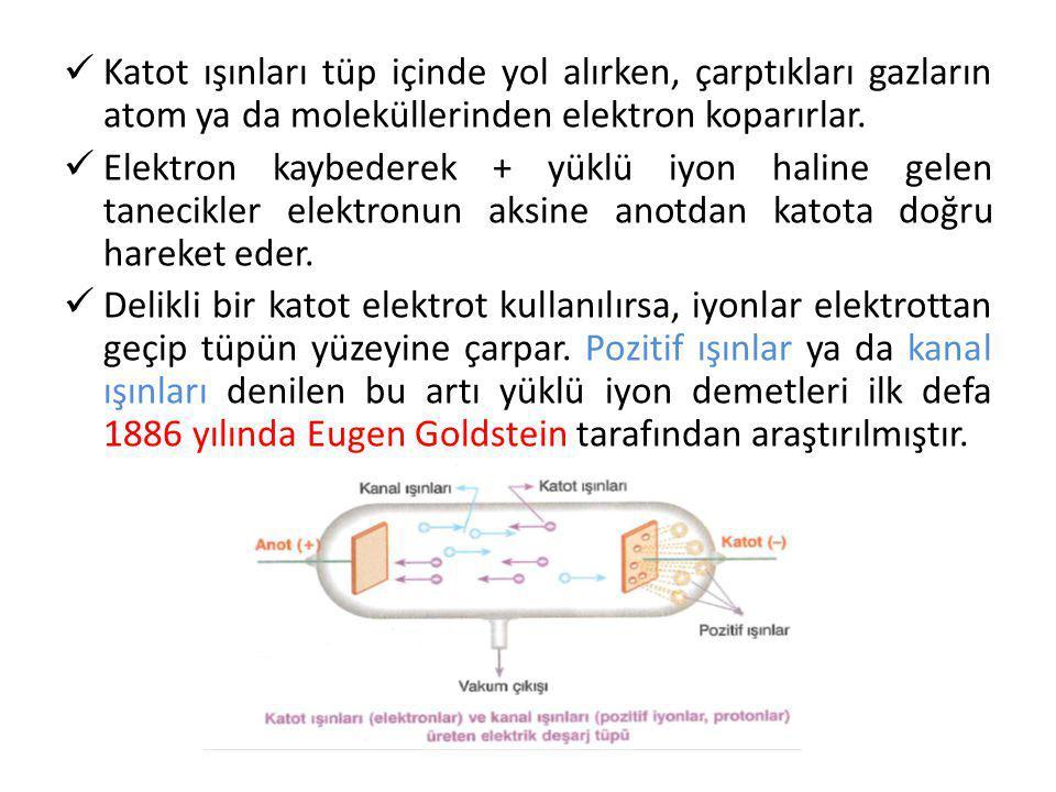 Katot ışınları tüp içinde yol alırken, çarptıkları gazların atom ya da moleküllerinden elektron koparırlar. Elektron kaybederek + yüklü iyon haline ge