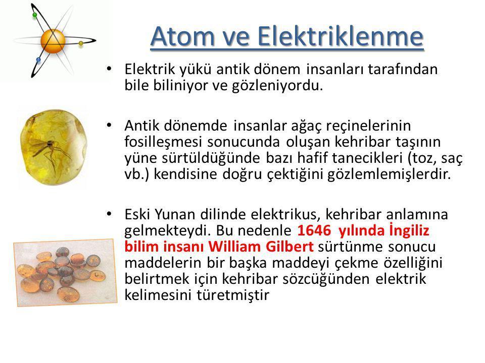 Atom ve Elektriklenme Elektrik yükü antik dönem insanları tarafından bile biliniyor ve gözleniyordu. Antik dönemde insanlar ağaç reçinelerinin fosille