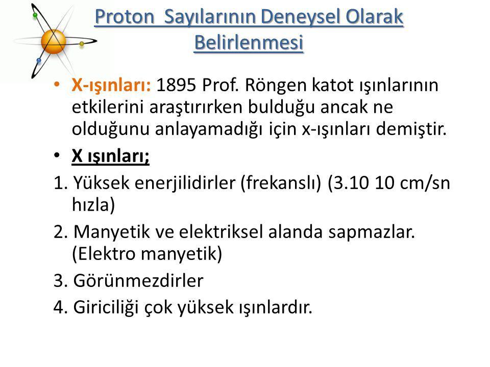 X-ışınları: 1895 Prof. Röngen katot ışınlarının etkilerini araştırırken bulduğu ancak ne olduğunu anlayamadığı için x-ışınları demiştir. X ışınları; 1