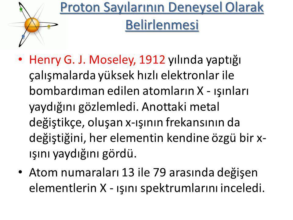 Henry G. J. Moseley, 1912 yılında yaptığı çalışmalarda yüksek hızlı elektronlar ile bombardıman edilen atomların X - ışınları yaydığını gözlemledi. An