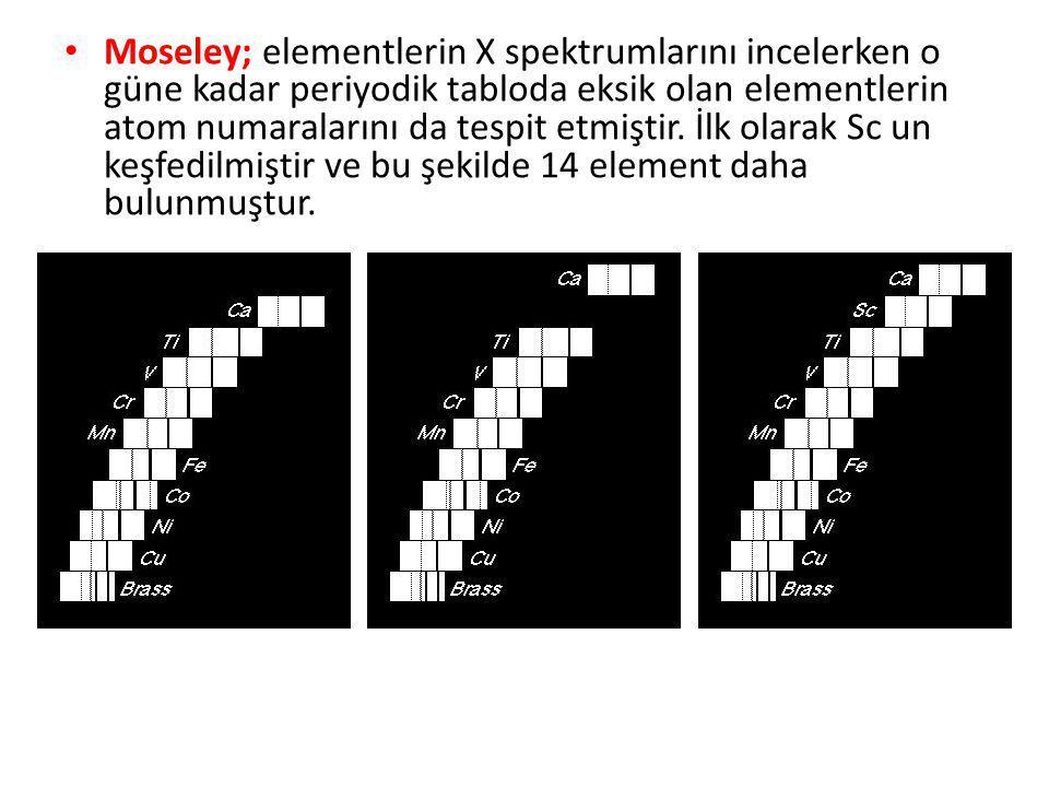 Moseley; elementlerin X spektrumlarını incelerken o güne kadar periyodik tabloda eksik olan elementlerin atom numaralarını da tespit etmiştir. İlk ola