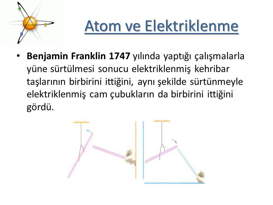 Atom ve Elektriklenme Benjamin Franklin 1747 yılında yaptığı çalışmalarla yüne sürtülmesi sonucu elektriklenmiş kehribar taşlarının birbirini ittiğini