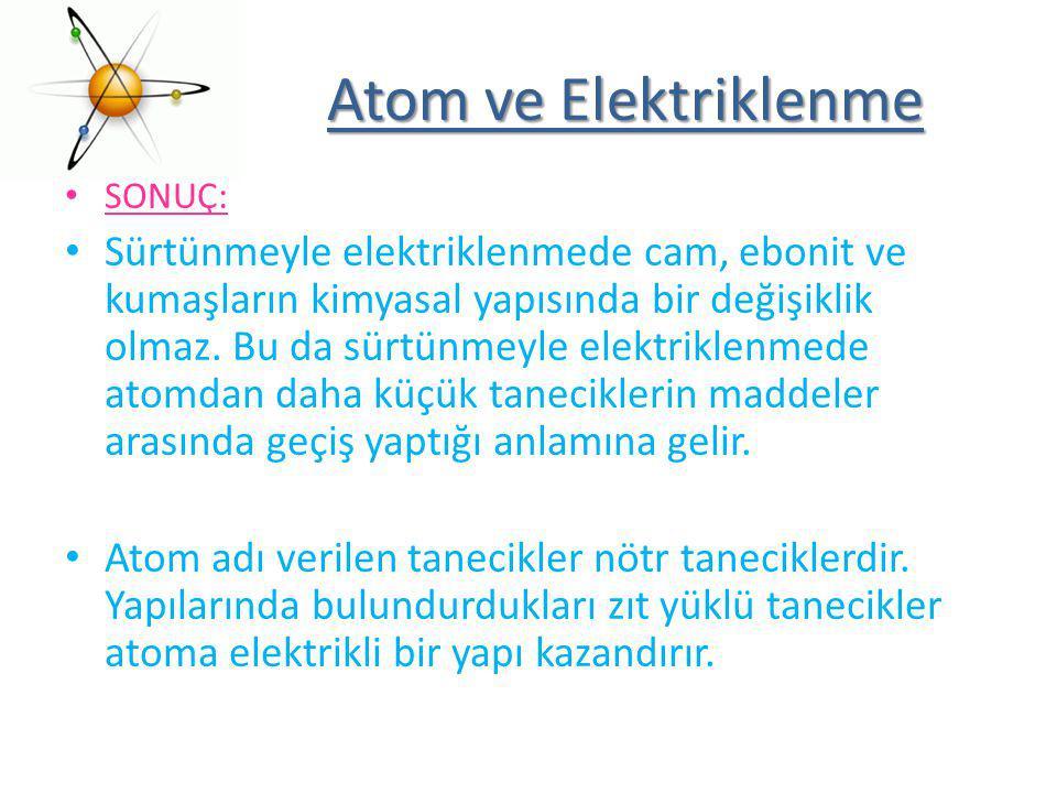 Atom ve Elektriklenme SONUÇ: Sürtünmeyle elektriklenmede cam, ebonit ve kumaşların kimyasal yapısında bir değişiklik olmaz. Bu da sürtünmeyle elektrik