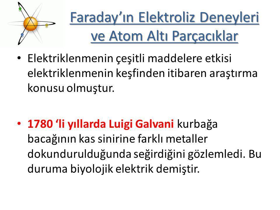 Faraday'ın Elektroliz Deneyleri ve Atom Altı Parçacıklar Elektriklenmenin çeşitli maddelere etkisi elektriklenmenin keşfinden itibaren araştırma konus