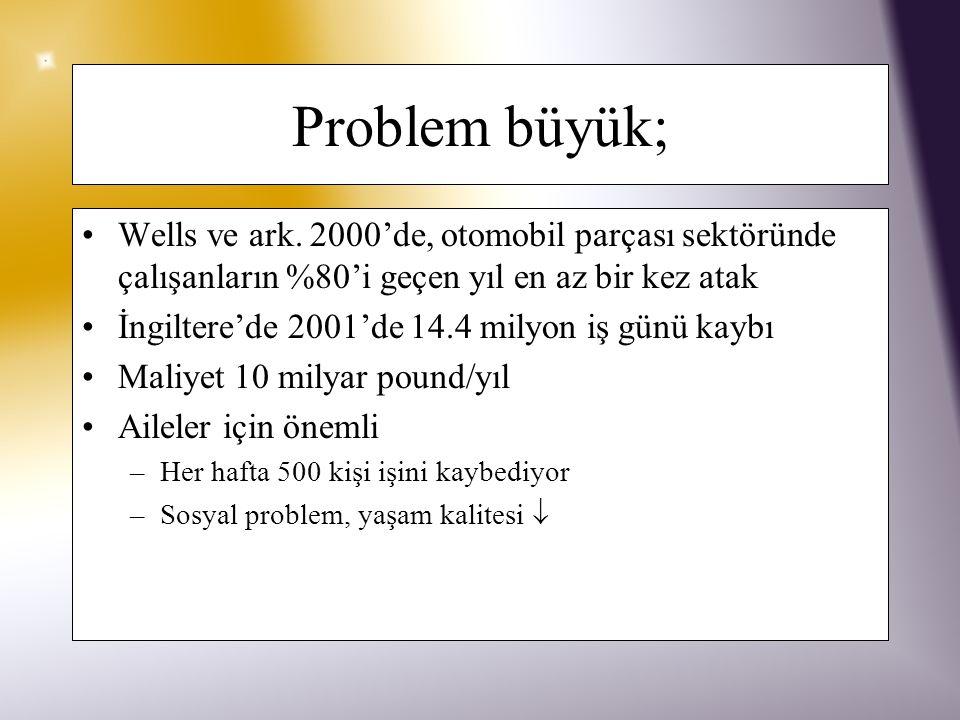 Problem büyük; Wells ve ark.