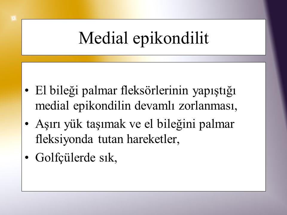 Lateral epikondilit El bileği dorsifleksörlerinin yapıştığı lateral epikondilde ortaya çıkan, devamlı zorlanma ile bağlantılı inflamasyon, El bileğini