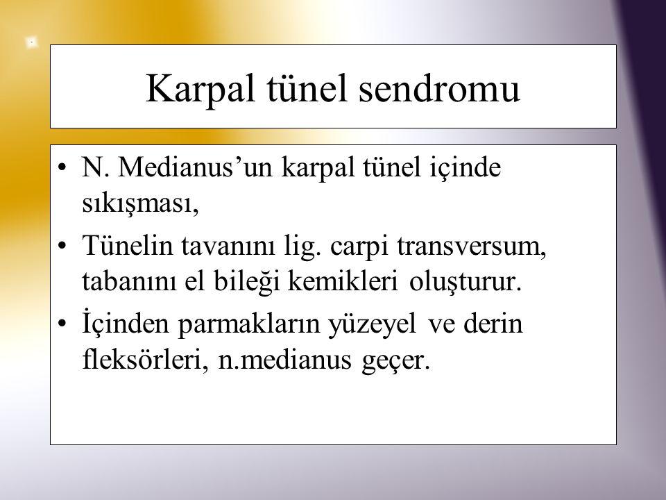 Karpal tünel sendromu –Sinirle aynı kanaldan geçen tendonlar inflame olduğunda sinire daha az alan kalır.