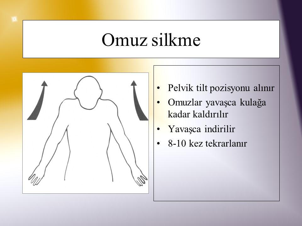 Omuz çevirme Pelvik tilt pozisyonu alınır Omuzlar yavaşca öne ve arkaya çevrilir, 8- 10 kez tekrarlanır