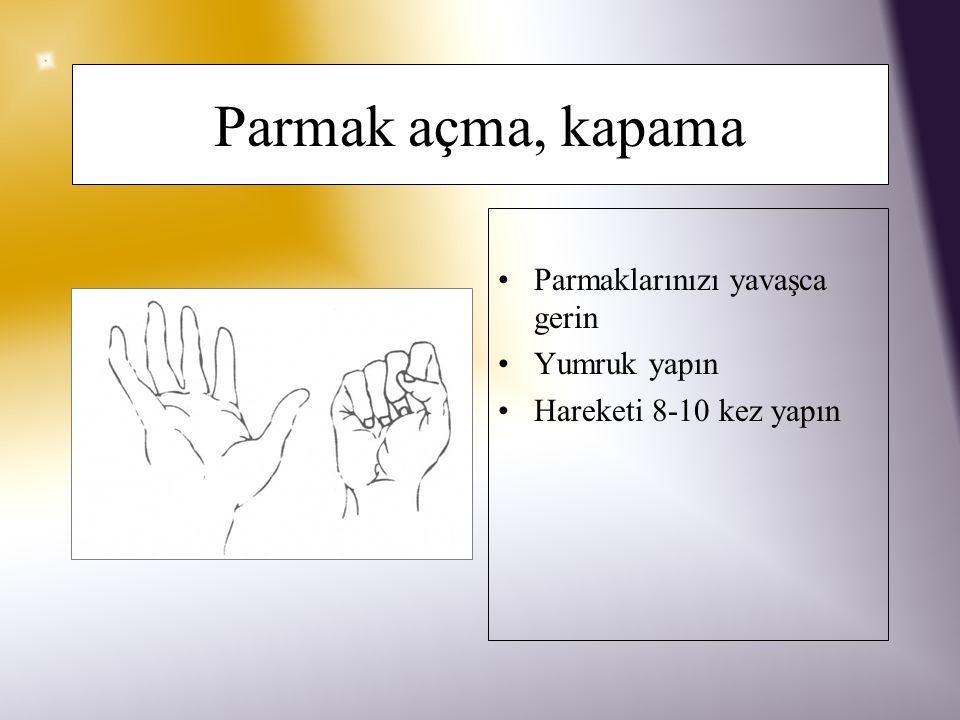 Dua etme pozisyonu Eller karşı karşıya getirilir Birbirine doğru hafifçe ittirilir 5'e sayana kadar tutulur 5 kez tekrarlanır