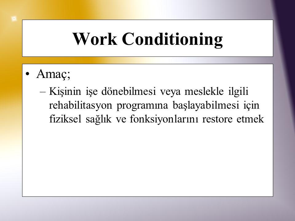 Work Conditioning İş ile ilgili, amaca yönlendirilmiş, özellikle kişinin sistemik, nöromusküloskeletal fonksiyonunu (güç, endürans, hareket, fleksibil