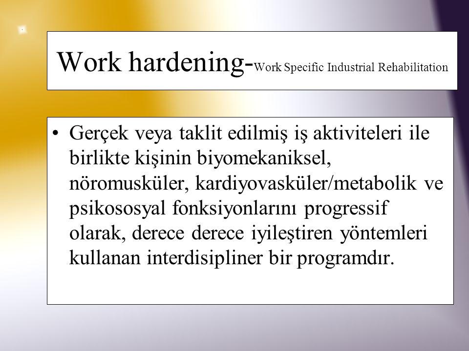 Work Conditioning Amaç; –Kişinin işe dönebilmesi veya meslekle ilgili rehabilitasyon programına başlayabilmesi için fiziksel sağlık ve fonksiyonlarını