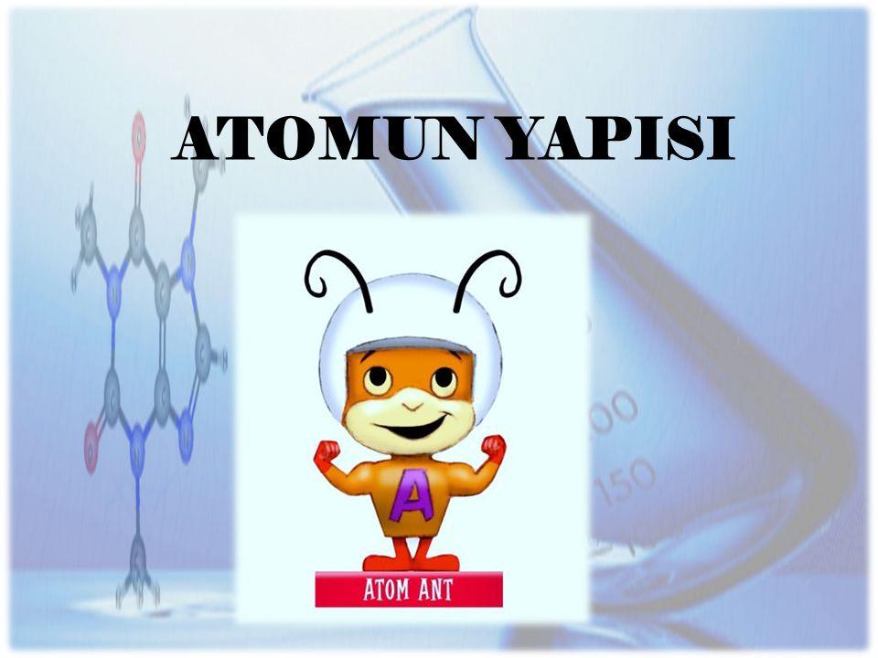 Thomson' a göre; Atom küre şeklindedir.(Çapı 10–8 cm) Atomda (+) ve (–) yüklü tanecikler bulunur.