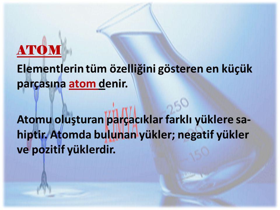 ATOM Elementlerin tüm özelliğini gösteren en küçük parçasına atom denir.