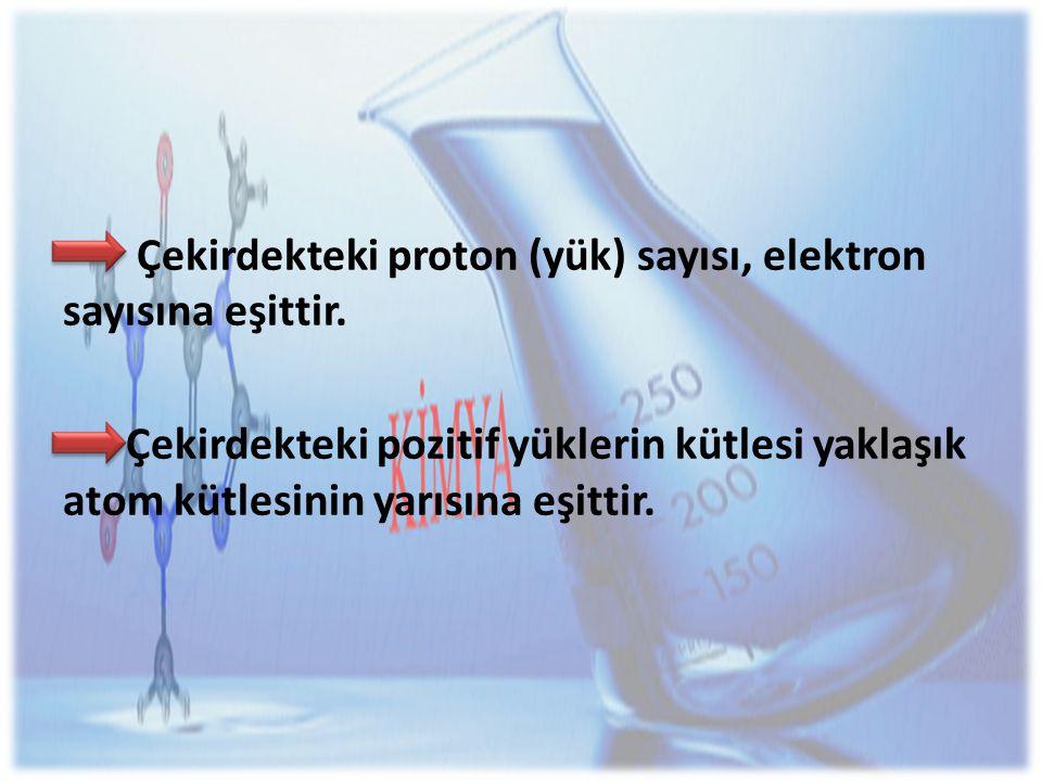 Çekirdekteki proton (yük) sayısı, elektron sayısına eşittir.