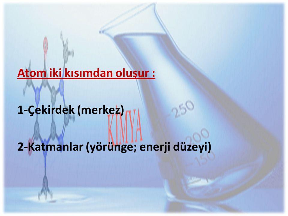 1-Çekirdek (merkez) Çekirdek, hacim olarak küçük olmasına karşın, atomun tüm kütlesini oluşturur.