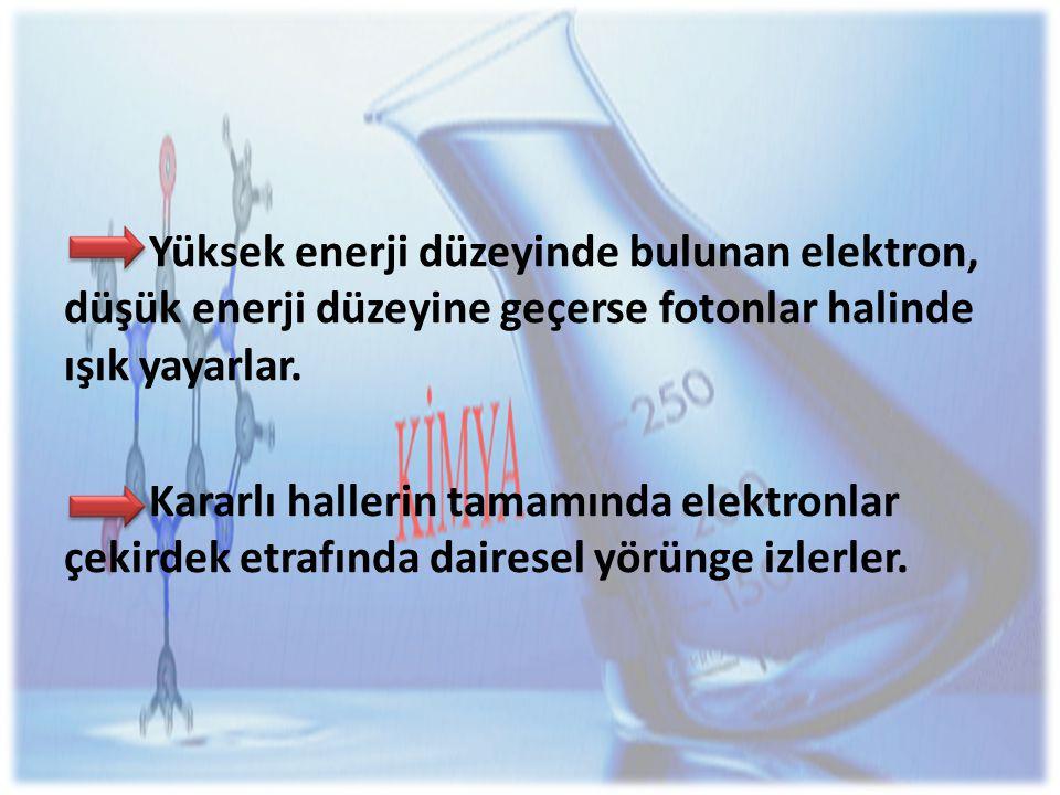 Yüksek enerji düzeyinde bulunan elektron, düşük enerji düzeyine geçerse fotonlar halinde ışık yayarlar.