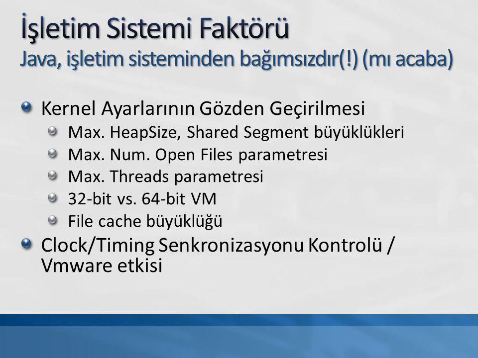 Heap Size, Segment Size, PermGenSpace Garbage Collection System.gc()'nin disable edilmesi Low Pause Collector'ların seçimi Parallel Copy, Concurrent Mark-Sweep Jconsole remote ayarları MAN_OPTS= -Dcom.sun.management.jmxremote \ -Dcom.sun.management.jmxremote.port=16105 \ -Dcom.sun.management.jmxremote.ssl=false \ -Dcom.sun.management.jmxremote.authenticate=true« Username/password'ün konfigüre edilmesi