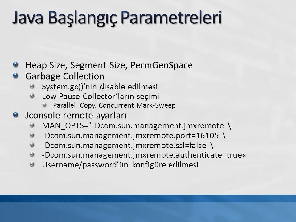 Jconsole Kullanımı Heap / Start / Garbage collection ın gözlemlenmesi Thread lerin gözlemlenmesi İşletim Sistemi performans gözlemlenmesi Nagios, cacti, Zabbix ile CPU/Memory/Disk IO larının gözlemlenmesi