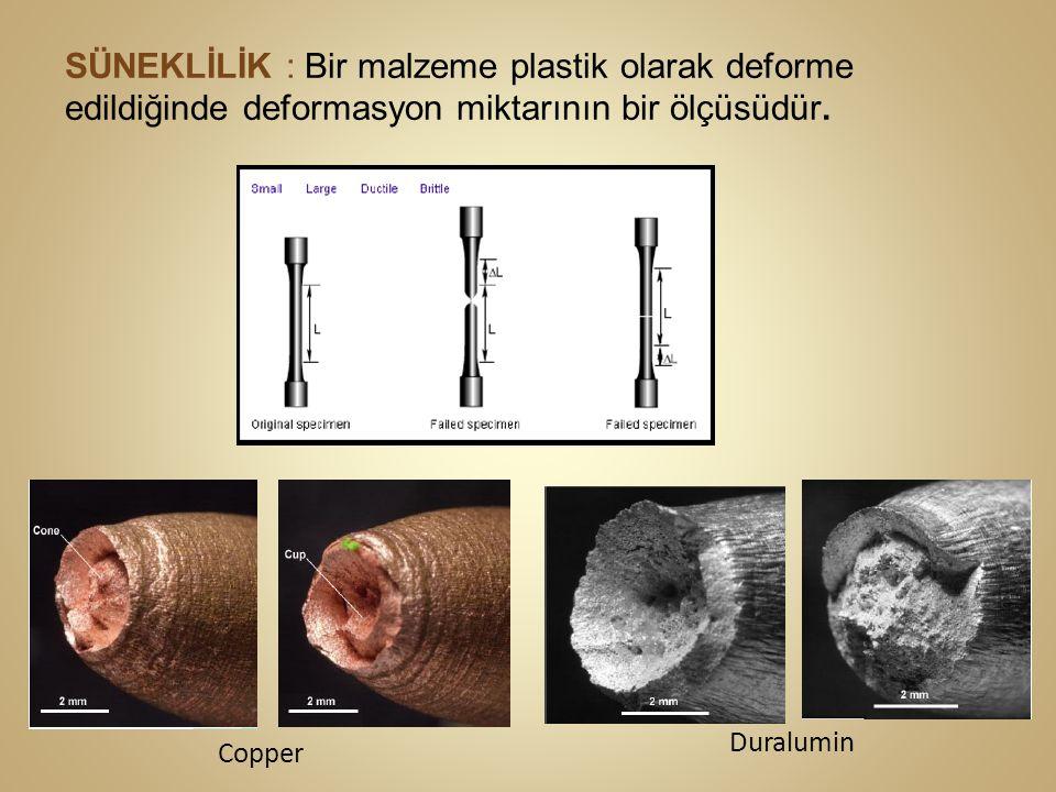 SÜNEKLİLİK : Bir malzeme plastik olarak deforme edildiğinde deformasyon miktarının bir ölçüsüdür. Copper Duralumin