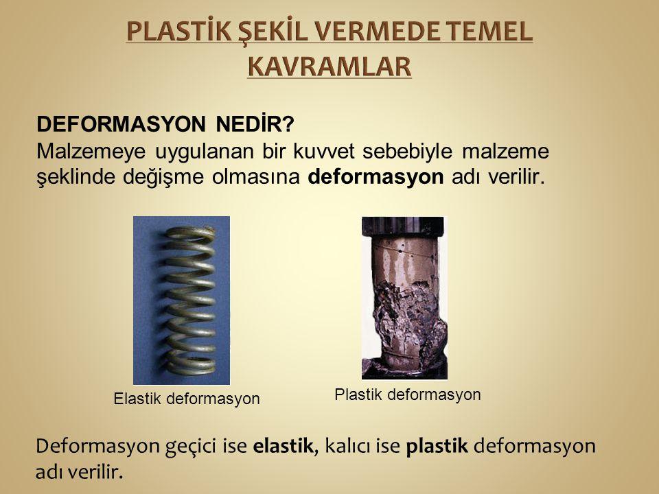 DEFORMASYON NEDİR? Malzemeye uygulanan bir kuvvet sebebiyle malzeme şeklinde değişme olmasına deformasyon adı verilir. Deformasyon geçici ise elastik,