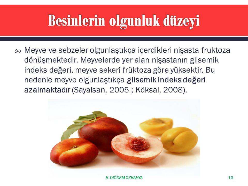  Meyve ve sebzeler olgunlaştıkça içerdikleri nişasta fruktoza dönüşmektedir. Meyvelerde yer alan nişastanın glisemik indeks değeri, meyve sekeri frük