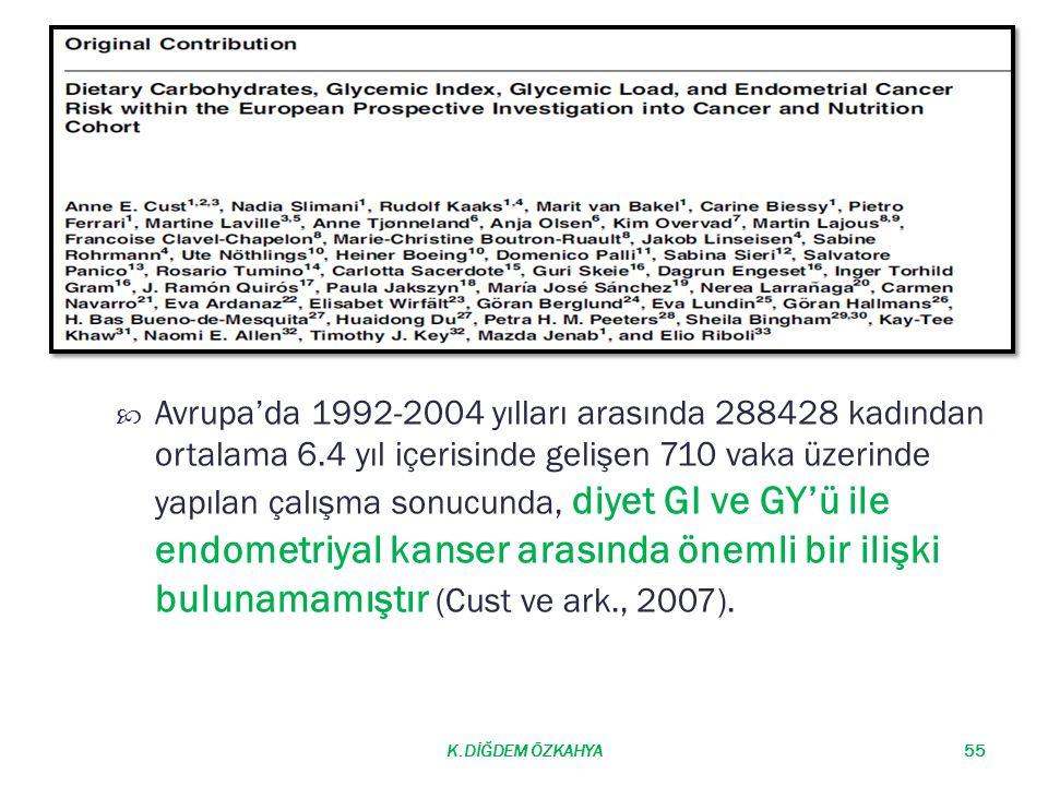  Avrupa'da 1992-2004 yılları arasında 288428 kadından ortalama 6.4 yıl içerisinde gelişen 710 vaka üzerinde yapılan çalışma sonucunda, diyet GI ve GY'ü ile endometriyal kanser arasında önemli bir ilişki bulunamamıştır (Cust ve ark., 2007).