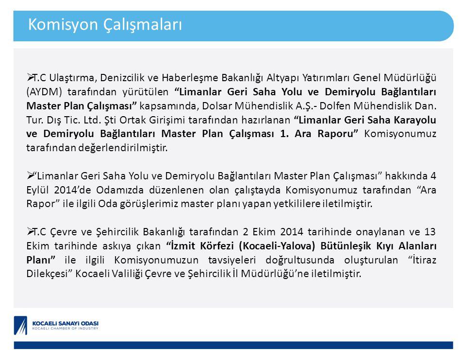 """Komisyon Çalışmaları  T.C Ulaştırma, Denizcilik ve Haberleşme Bakanlığı Altyapı Yatırımları Genel Müdürlüğü (AYDM) tarafından yürütülen """"Limanlar Ger"""