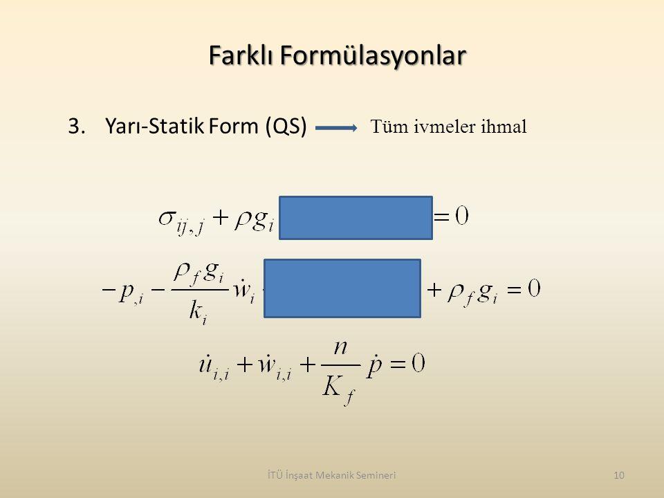 İTÜ İnşaat Mekanik Semineri10 Farklı Formülasyonlar Tüm ivmeler ihmal 3.Yarı-Statik Form (QS)