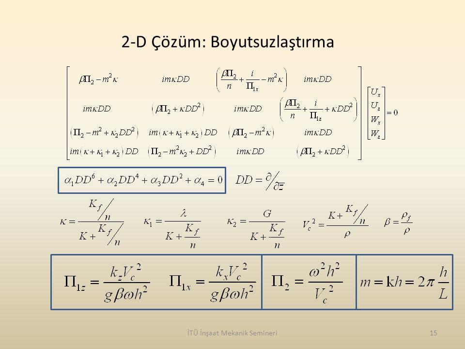 İTÜ İnşaat Mekanik Semineri15 2-D Çözüm: Boyutsuzlaştırma
