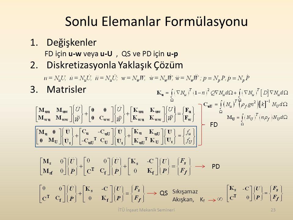 İTÜ İnşaat Mekanik Semineri23 Sonlu Elemanlar Formülasyonu 1.Değişkenler FD için u-w veya u-U, QS ve PD için u-p 2.Diskretizasyonla Yaklaşık Çözüm 3.M