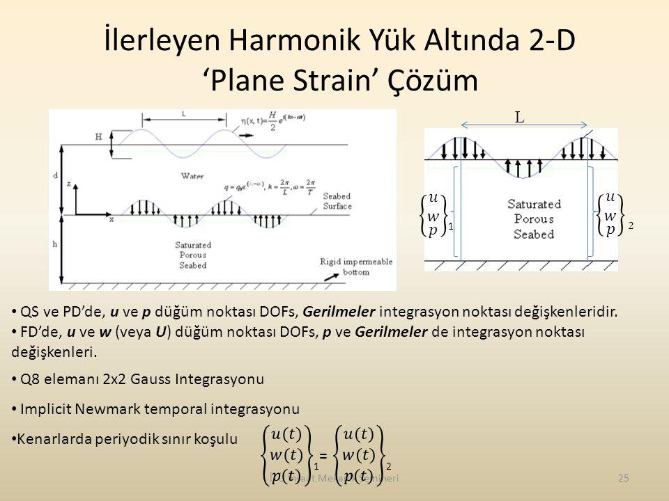 İTÜ İnşaat Mekanik Semineri25 İlerleyen Harmonik Yük Altında 2-D 'Plane Strain' Çözüm QS ve PD'de, u ve p düğüm noktası DOFs, Gerilmeler integrasyon n