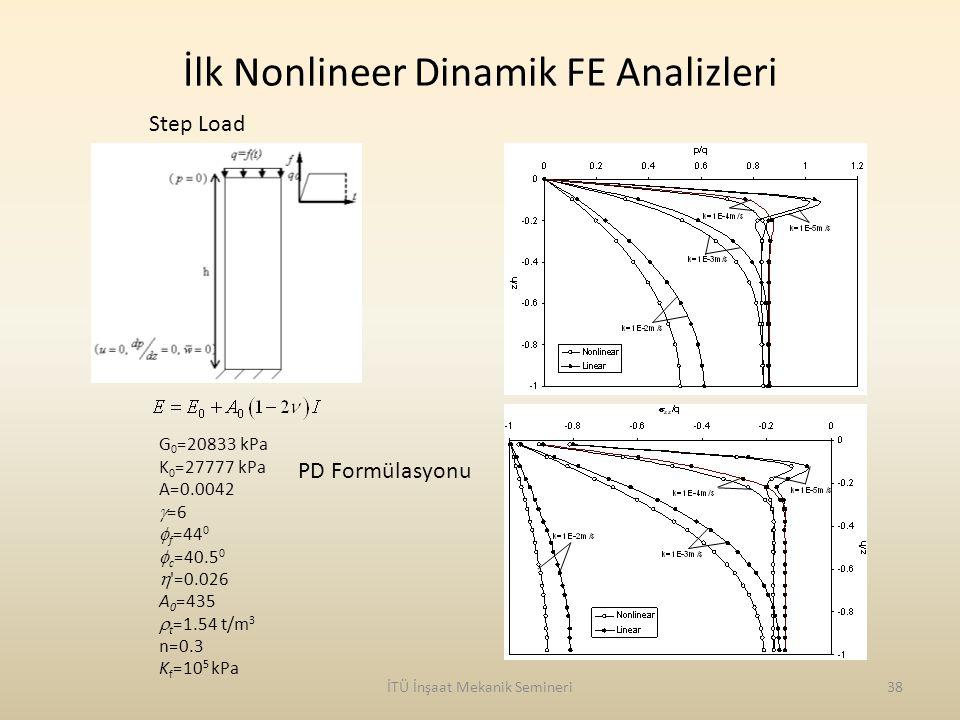 İlk Nonlineer Dinamik FE Analizleri İTÜ İnşaat Mekanik Semineri38 G 0 =20833 kPa K 0 =27777 kPa A=0.0042  =6  f =44 0  c =40.5 0  '=0.026 A 0 =435