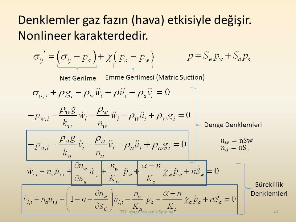 Denklemler gaz fazın (hava) etkisiyle değişir. Nonlineer karakterdedir. İTÜ İnşaat Mekanik Semineri41 Net Gerilme Emme Gerilmesi (Matric Suction) Deng