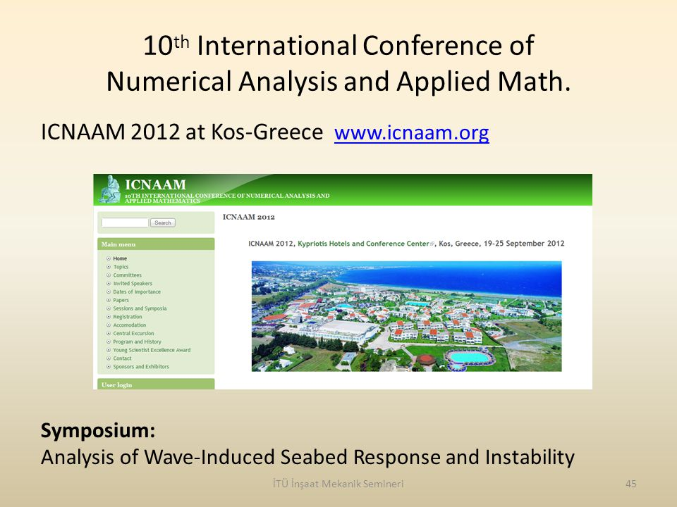 10 th International Conference of Numerical Analysis and Applied Math.