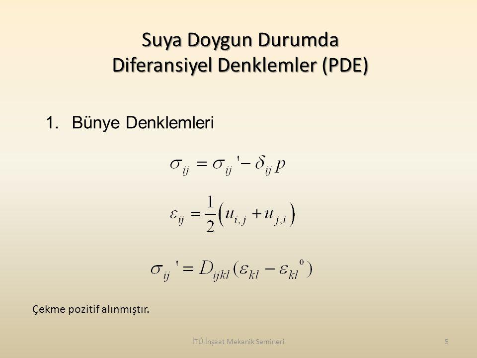 İTÜ İnşaat Mekanik Semineri6 Suya Doygun Durumda Diferansiyel Denklemler (PDE) 2.Momentumun Korunumu 2 Fazlı (Katı ve Sıvı) Ortamın Toplam Dengesi Sıvı Fazın Dengesi