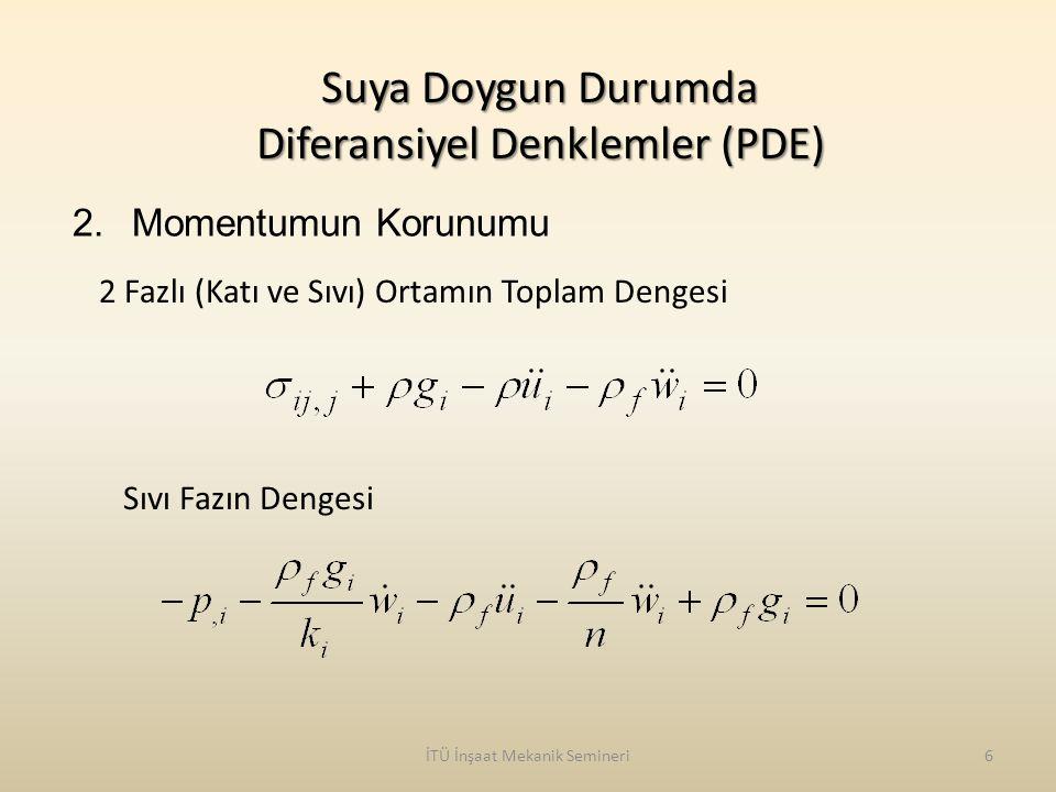İTÜ İnşaat Mekanik Semineri6 Suya Doygun Durumda Diferansiyel Denklemler (PDE) 2.Momentumun Korunumu 2 Fazlı (Katı ve Sıvı) Ortamın Toplam Dengesi Sıv