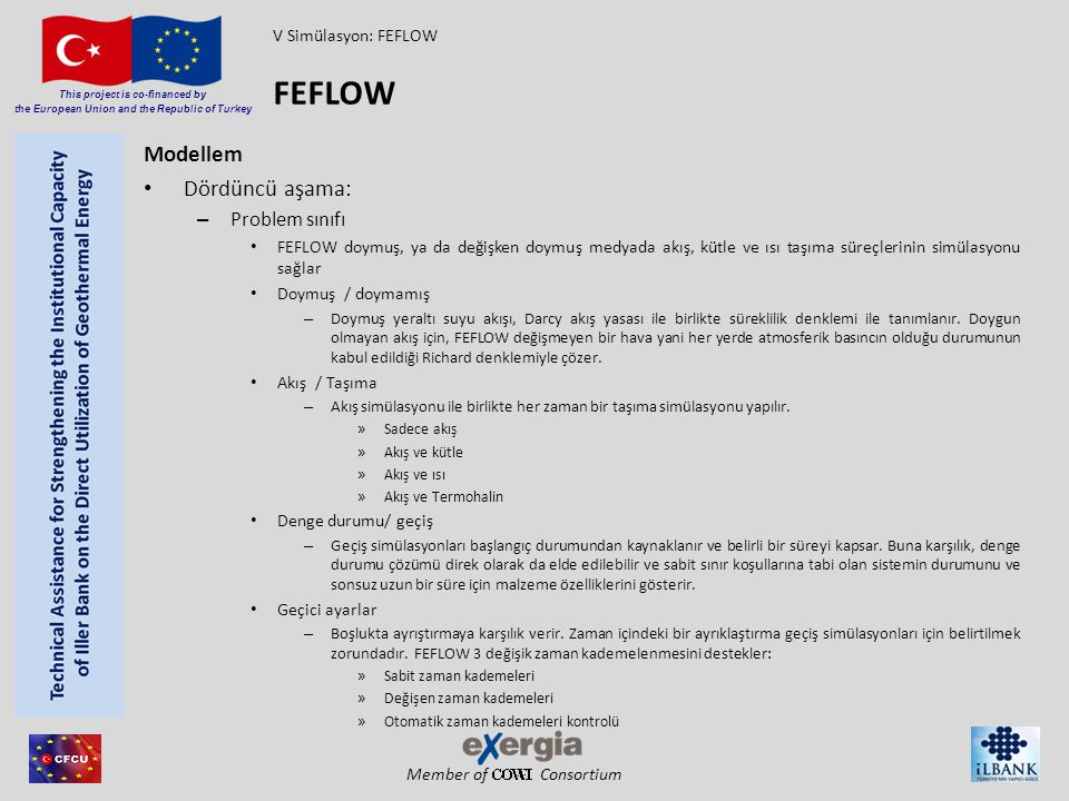 Member of Consortium This project is co-financed by the European Union and the Republic of Turkey Modellem Dördüncü aşama: – Problem sınıfı FEFLOW doy