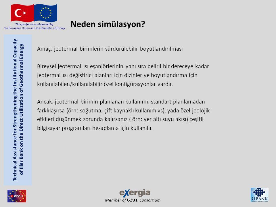 Member of Consortium This project is co-financed by the European Union and the Republic of Turkey Ortalama akışkan sıcaklığının hesaplanması çözüm Ortalama akışkan sıcaklığını çözmek – Verilen bir işletmenin ısı taşıyan akışkanının ortalama sıcaklığının hesaplanması (yer, derinlik, konfigürasyon kuyu ve ısı değiştirici menüsünden) Gerekli kuyu uzunluğunu çözmek – İşletme için akışkan sıcaklığını verilen sınırlar içerisinde tutmak için kuyu uzunluğunun hesaplanması Alt menude belirtilen sınırlar akışkan sıcaklığı kısıtlamaları YET V Simülasyon: YET Gerekli kuyu uzunluğunu çözmek– Optimizasyon – Yer için verilen genişliğe, derinliğe ve toplam ısı değiştiricisi için verilen alana bağlı olarak toplam kuyu uzunluğunun hesaplanması