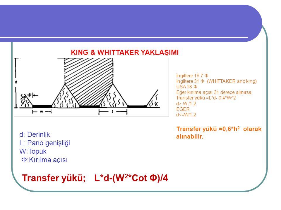 KING & WHITTAKER YAKLAŞIMI d: Derinlik L: Pano genişliği W:Topuk Φ:Kırılma açısı Transfer yükü; L*d-(W 2 *Cot Φ)/4 İngiltere 16,7 Φ İngiltere 31 Φ (WHİTTAKER and kıng) USA 18 Φ Eğer kırılma açısı 31 derece alınırsa; Transfer yükü =L*d- 0,4*W^2 d> W /1,2 EĞER d<=W/1,2 Transfer yükü =0,6*h 2 olarak alınabilir.