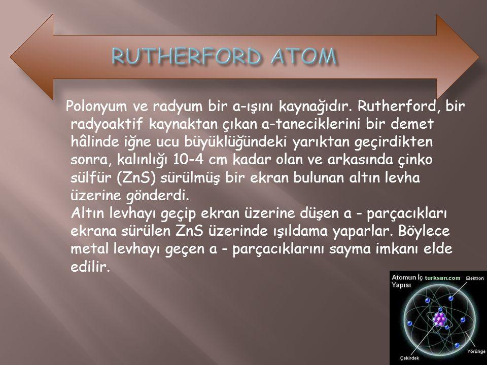 Polonyum ve radyum bir a-ışını kaynağıdır. Rutherford, bir radyoaktif kaynaktan çıkan a-taneciklerini bir demet hâlinde iğne ucu büyüklüğündeki yarıkt