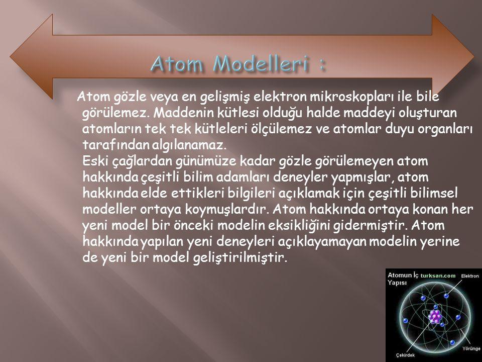 Atom gözle veya en gelişmiş elektron mikroskopları ile bile görülemez. Maddenin kütlesi olduğu halde maddeyi oluşturan atomların tek tek kütleleri ölç