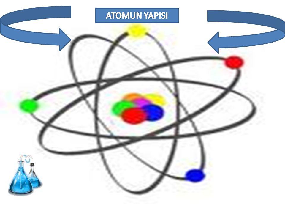  E lementlerin tüm özelliğini gösteren en küçük parçasına atom denir.