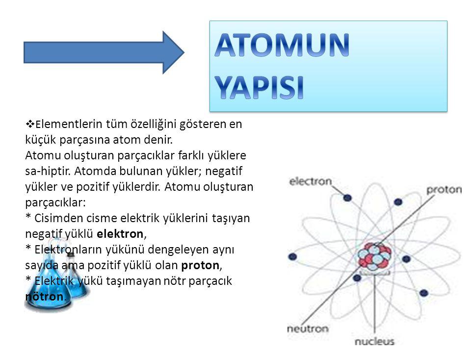  E lementlerin tüm özelliğini gösteren en küçük parçasına atom denir. Atomu oluşturan parçacıklar farklı yüklere sa-hiptir. Atomda bulunan yükler; ne