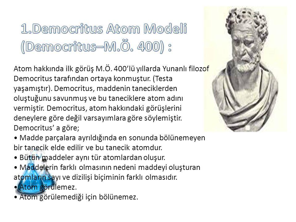 Atom hakkında ilk görüş M.Ö. 400'lü yıllarda Yunanlı filozof Democritus tarafından ortaya konmuştur. (Testa yaşamıştır). Democritus, maddenin tanecikl