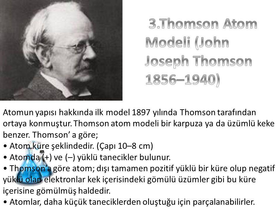 Atomun yapısı hakkında ilk model 1897 yılında Thomson tarafından ortaya konmuştur. Thomson atom modeli bir karpuza ya da üzümlü keke benzer. Thomson'